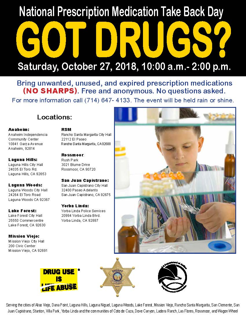 National Prescription Drug Take Back Day_Oct2018