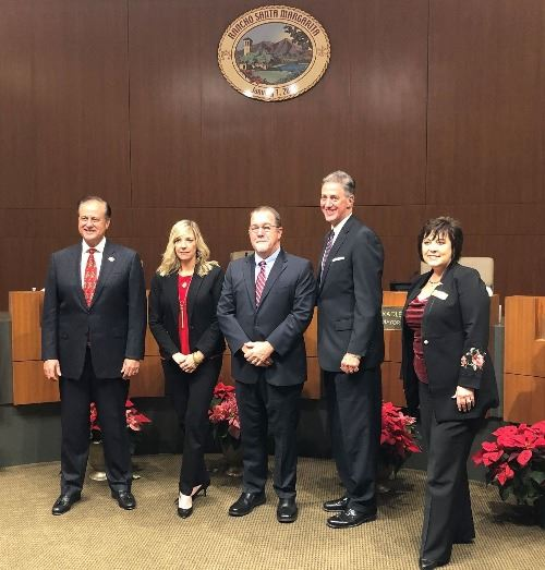 L-R Tony Beall, Anne Figueroa, Jerry Holloway, Brad McGirr, Carol Gamble
