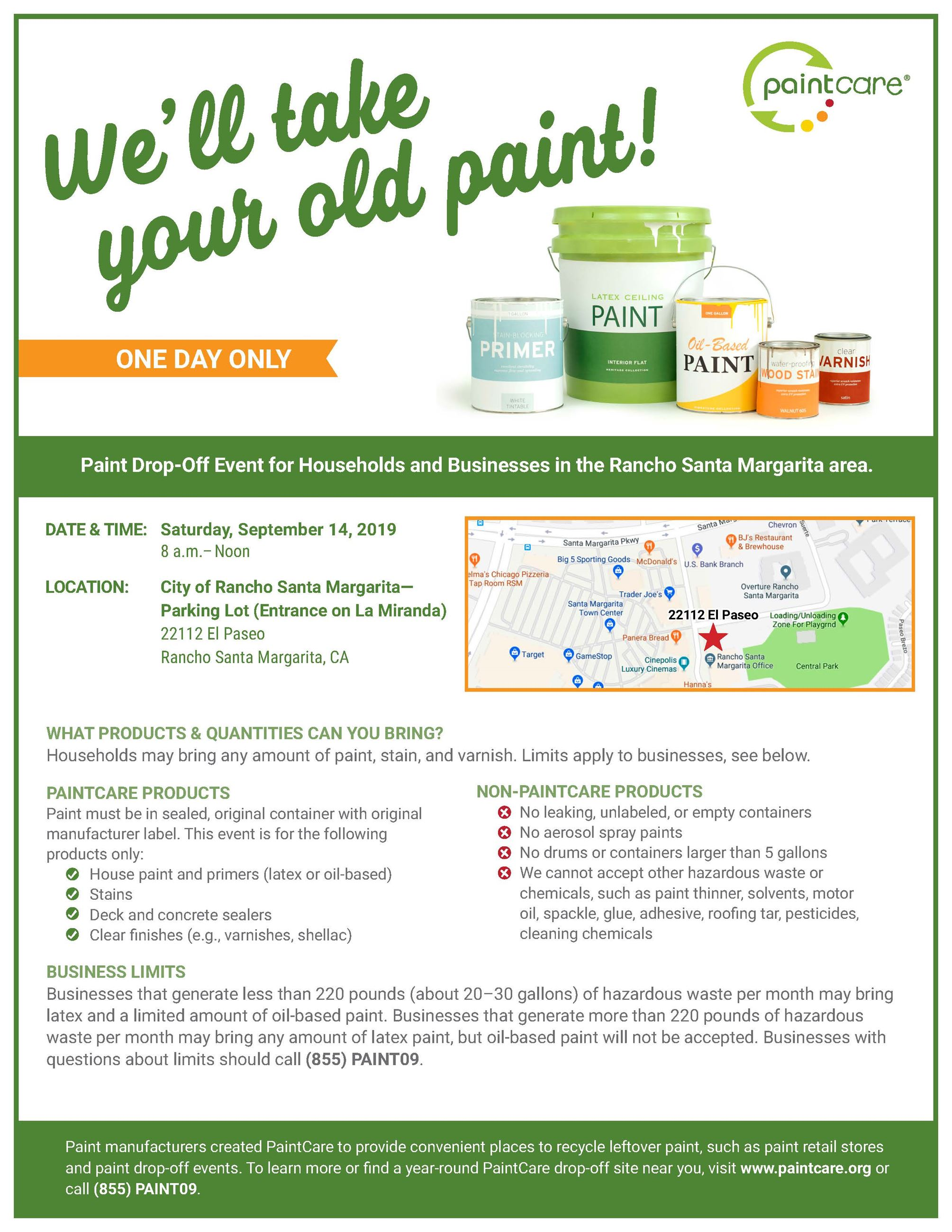 Paint Drop-Off Event Flyer - September 12, 2019
