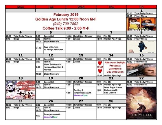 Age Well Senior Services February Calendar