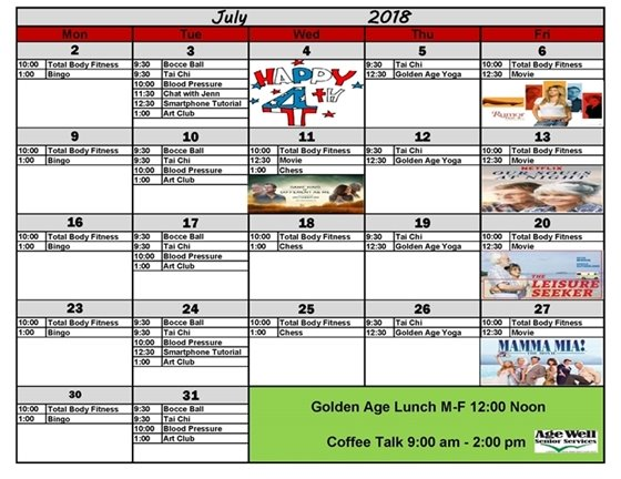 July Age Well Activities Calendar