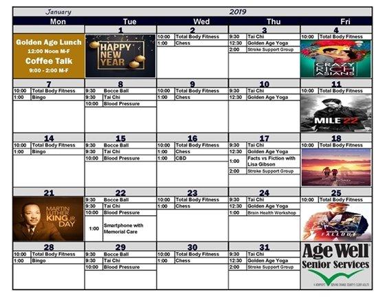 Age Well January calendar