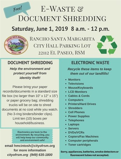 Free E-Waste and Document Shredding Event flyer