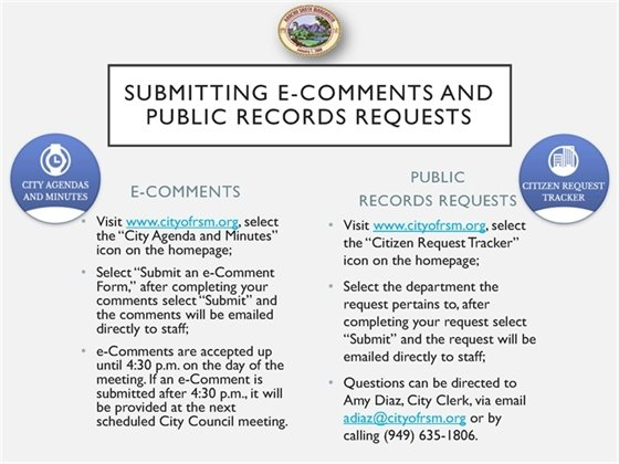 How to submit e-comments and public records requests
