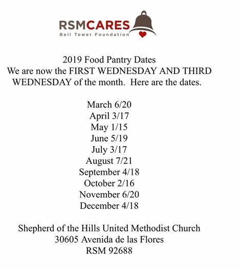 RSM Cares Food Pantry dates