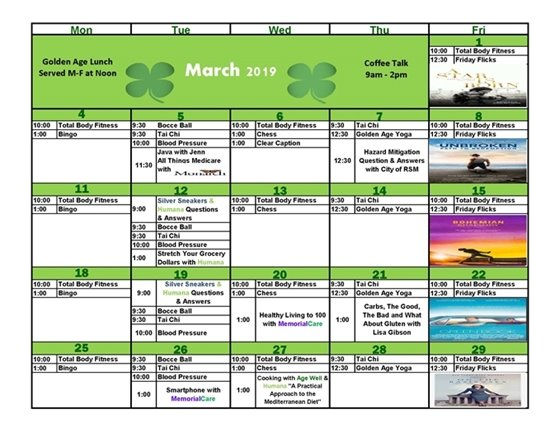 March Age Well Senior Services Calendar