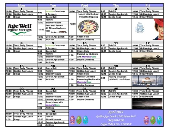 Age Well Senior Services April Calendar