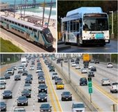 Photos of train, bus, and freeway