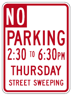 No Parking Sign Thursday 230-630