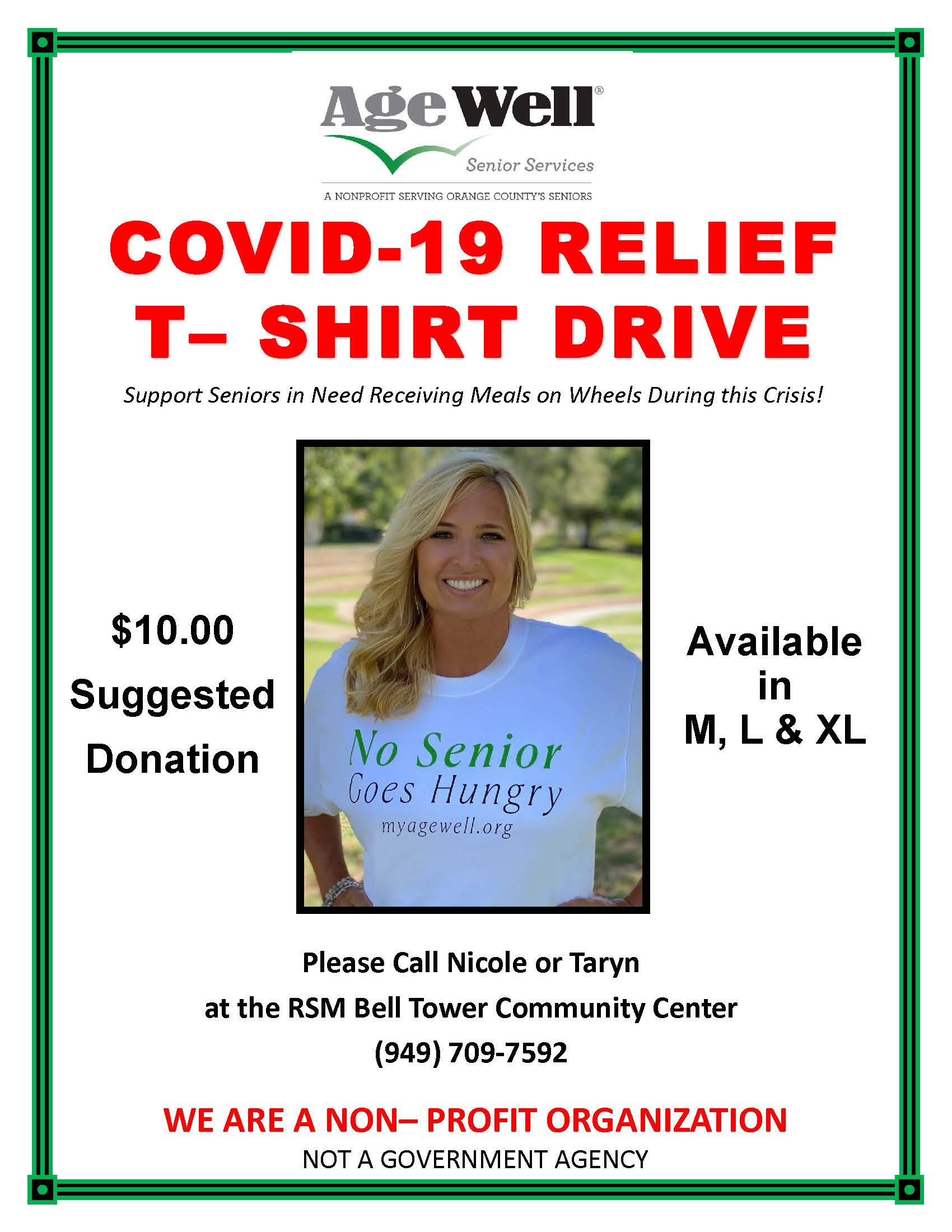 COVID RELIEF T-SHIRT DRIVE flyer 07202020