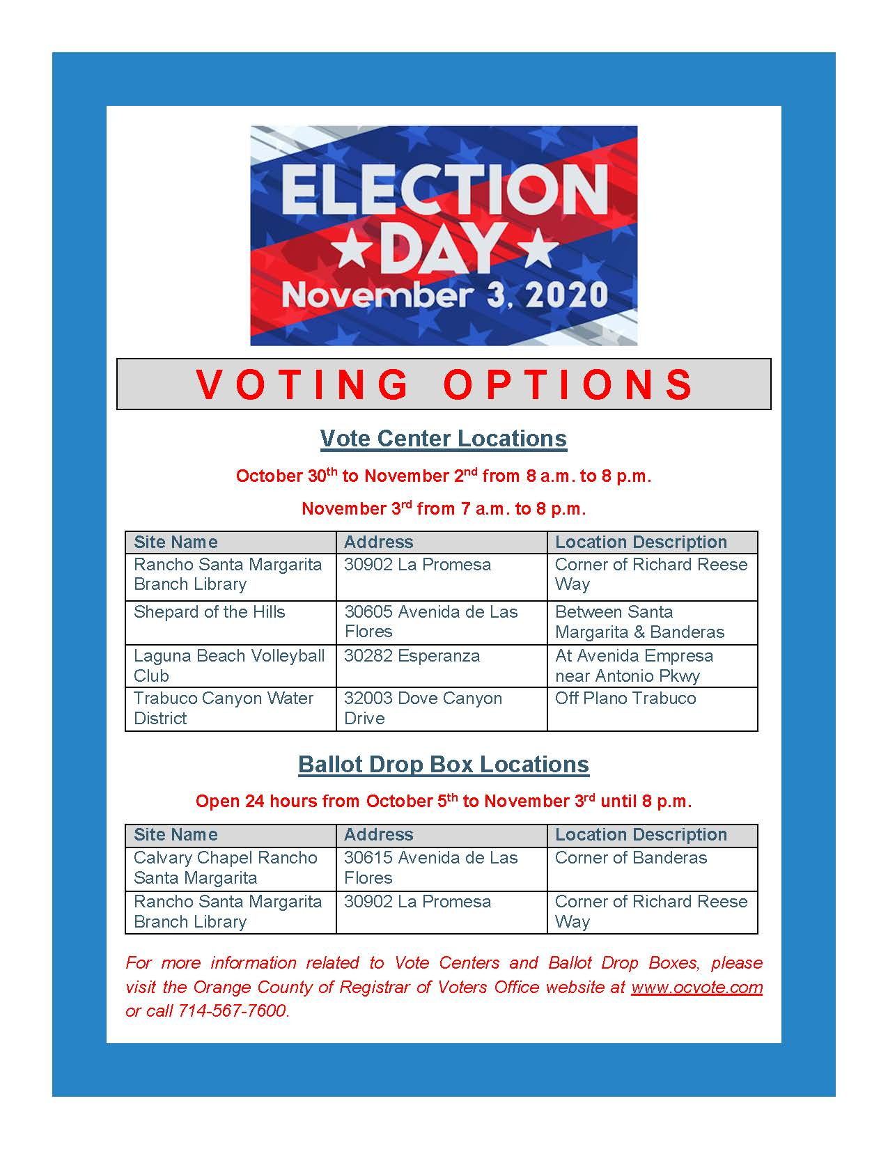 Voting Options Flyer 2020